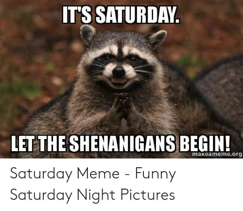 Saturday Memes ts saturday let the shenanigans begin makeameme org saturday meme 48902280