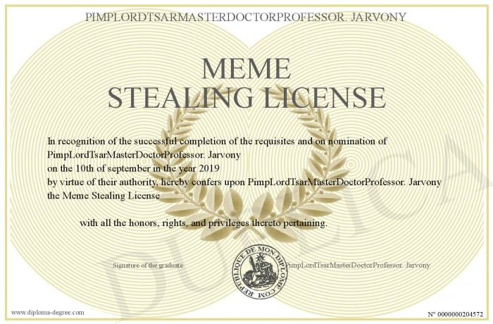 33 Meme Stealing License 17